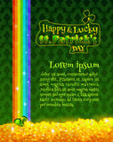 St Patricks Day. Happy and Lucky St Patricks Day greeting card or poster template. Vector design element. Green pot with gold coins, treasure of leprechauns at Stock Images