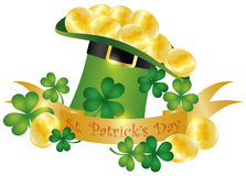 St Patricks Day Hat Banner Gold Coins Illustration. Happy St Patricks Day Banner with Leprechaun Hat Gold Coins and Shamrock Leaves Illustration Stock Photography