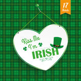 St Patricks Day Heart Kiss Me Tartan Royalty Free Stock Photography
