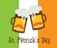 St. Patricks day. hipster beer glasses over Irish flag Stock Photos