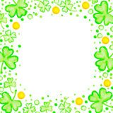 St. Patricks Day holiday frame. Clover leaf border, Spring background Royalty Free Stock Image