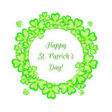 St. Patricks Day holiday frame. Clover leaf border. Spring background Stock Photography