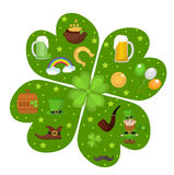 St. Patricks Day icon set in clover-shape design element. Traditional irish symbols in modern flat style. Isolated on Stock Photos