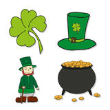 St. Patricks Day icons - Leprechaun, Leprechauns hat, pot of gold and clover. Stock Images