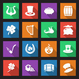 St Patricks Day icons. Set of sixteen Saint Patricks day icons with long shadows Stock Images