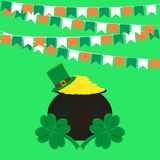 St. patricks day, flags pot of gold and clover vector illustration