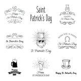 St Patricks day labels set. Calendar, clover, leprechaun, four leafy, Ireland, green, beard horseshoe flag beer ale Saint Patrick stock illustration