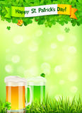 St. Patricks Day leaflet template with beer and Royalty Free Stock Photos