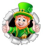 St Patricks Day Leprechaun Breaking Background. A cute St Patricks Day Leprechaun cartoon character breaking through the background and giving a thumbs up Stock Image
