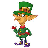 St Patricks Day leprechaun cartoon character presenting. Vector illustration Stock Photo