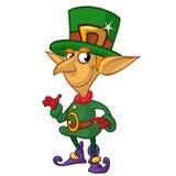 St Patricks Day leprechaun cartoon character presenting. Vector illustration Stock Photo
