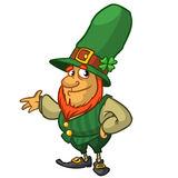 St Patricks Day leprechaun cartoon character presenting. Vector illustration Royalty Free Stock Photography