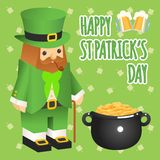 St. patricks day. Leprechaun in 3d flat style with Stock Image