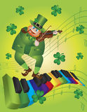 St Patricks Day Leprechaun Dancing on Piano Keyboa. St Patricks Day Leprechaun Playing Violin Dancing on Rainbow Colors Piano Wavy Keyboard Shamrock Background Royalty Free Stock Image