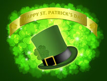 St Patricks Day Leprechaun Hat Banner Shamrock Stock Photo