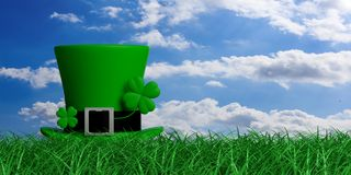 St Patricks Day leprechaun hat with four leaf clover on grass, blue sky background, copy space. 3d illustration. St Patricks Day leprechaun hat with four leaf Royalty Free Stock Photos