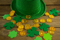St Patricks Day leprechaun hat with gold chocolate gold coins Royalty Free Stock Photo