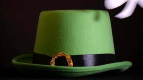 St Patricks Day leprechaun hat. stock video