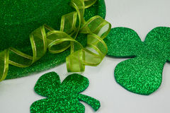 St Patricks Day leprechaun hat with shamrock. On white background Royalty Free Stock Photo
