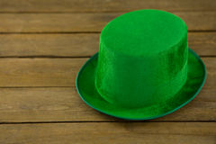 St Patricks Day leprechaun hat. On wooden table Royalty Free Stock Image