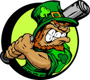 St. Patricks Day Leprechaun Holding Baseball Bat Stock Image