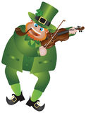 St Patricks Day Leprechaun Playing Violin. St Patricks Day Irish Leprechaun with Hat and Smoking Pipe Playing Violin Isolated on White Background Illustration Royalty Free Stock Photos