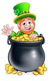 St Patricks Day Leprechaun and Pot of Gold Stock Photos