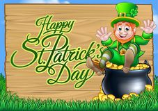 St Patricks Day Leprechaun and Pot of Gold Sign Royalty Free Stock Photography