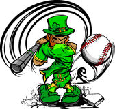 St. Patricks Day Leprechaun Swinging Baseball Bat Royalty Free Stock Images
