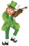 St Patricks Day Leprechaun Violin Illustration. St Patricks Day Irish Leprechaun Fiddler Playing the Violin Illustration Isolated on White Background Stock Photos