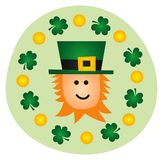 St Patricks Day Leprechauns. Clover Shamrocks And Gold Royalty Free Stock Photography
