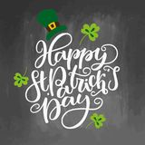 St. Patricks Day lettering. Vector holiday poster.  sign on chalkboard background. Great for greeting card. Poster, label, sticker. Brush ink modern Stock Photo