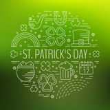 St. Patricks day line icons set in circle shape. Stock Image