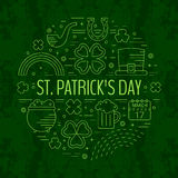St. Patricks day line icons set in circle shape. Royalty Free Stock Photography