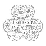 St. Patricks day line icons set in clover shape. Royalty Free Stock Image