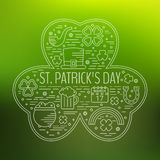 St. Patricks day line icons set in clover shape. Royalty Free Stock Photo