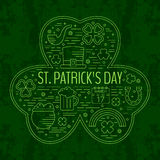 St. Patricks day line icons set in clover shape. Royalty Free Stock Photos