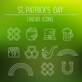 St. Patricks day linear icons set. Royalty Free Stock Image