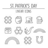 St. Patricks day linear icons set. Stock Photography