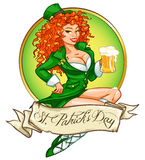 St. Patricks Day logo design with Leprechaun girl Royalty Free Stock Images