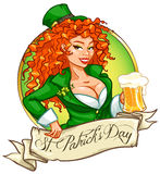 St. Patricks Day logo design with Leprechaun girl Stock Photography