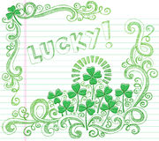 St Patricks Day Lucky Four Leaf Clover Doodle. St Patricks Day Lucky Four Leaf Clover Shamrock Sketchy Doodle Back to School Style Notebook Doodles Vector Stock Photography