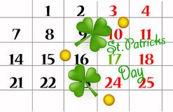 St. Patricks day on march calendar pin,  gold coins, sheet of clover. EPS 10. Vector. Celebration, celebration and St. Patrick`s Day. St. Patricks day on march Stock Image