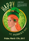 St. Patricks Day 2017. March 17. Invitation poster with a cute girl. St. Patricks Day 2017. March 17. Invitation poster with a cute red-haired girl in a Royalty Free Stock Images