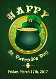 St. Patricks Day. 17 March. Invitation poster. Green background with the symbols of St. Patricks Day. Pot with gold coins and green leprechaun hat. Happy St Stock Images
