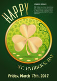 St. Patricks Day 2017. March 17. Invitation Poster. March 17. Green invitation poster for St. Patricks Day 2017. Vector illustration Royalty Free Stock Photos