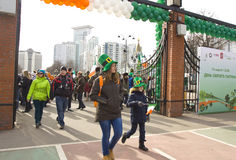 St. Patricks day in Moscow. MOSCOW - MARCH 15, 2014: Parade in Irish holiday St. Patricks day  in Moscow Stock Photography
