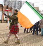 St. Patricks day in Moscow. MOSCOW - MARCH 15, 2014: Parade in Irish holiday St. Patricks day  in Moscow Stock Image
