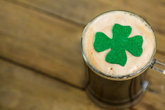 St Patricks Day mug of beer with shamrock Royalty Free Stock Photo