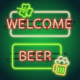 St Patricks Day Neon Frames Stock Photo